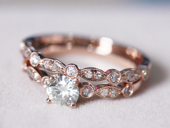 Mariage - 5mm Round Moissanite Ring w/ Half Eternity Matching Band Moissanite Wedding Set 14K Rose Gold Ring Engagement Ring -2 Rings Set