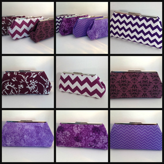 Mariage - Discount for Multiple Purple Clutch Purses, Bridesmaid Clutches, Purple, Wine, Lavendar, Bridal Party, Wedding, Summer, Bridesmaid Gift