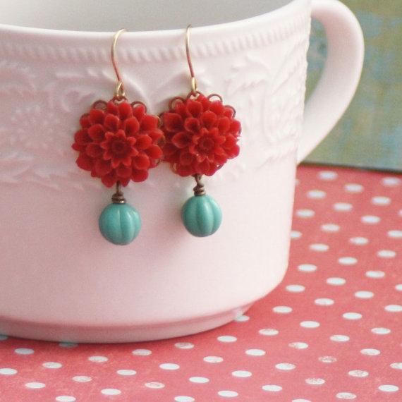 Mariage - Dangle Earrings, Flower Dangle Earrings, Red Flower Drop Earrings,Turquoise Glass, Dangle Earrings, Retro Flower Dangle Earrings, Bridesmaid