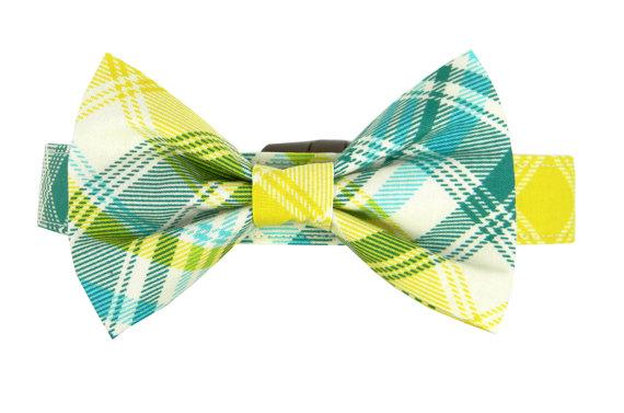 Свадьба - Aqua Yellow Plaid BowTie Dog Collar, Dog Bow Tie: Cabo Tartan