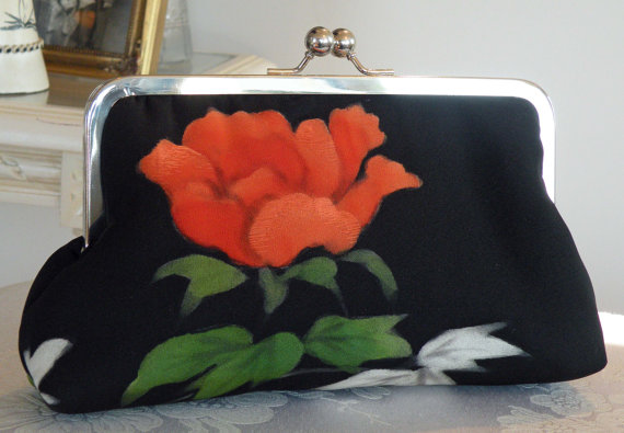 Wedding - Rose Red Floral Clutch/Purse/Bag..Long Island Bridal/Bridesmaid/Wedding/Valentines Day/Painted Black Silk Kimono/Ready To Ship