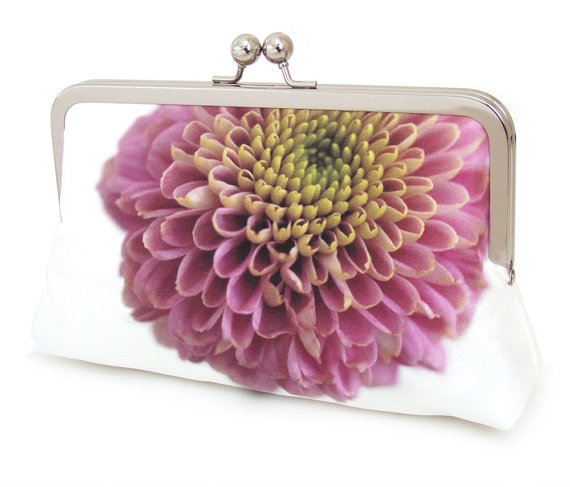 Mariage - Clutch bag, silk purse, pink petals, wedding purse, flower clutch, bridesmaid gift, PINK DAHLIA