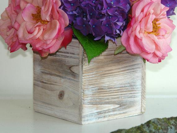 Свадьба - wood boxes woodland planter flower box rustic pot vases wedding wooden boxes rustic hydrangea wedding bouquet arrangement centerpiece