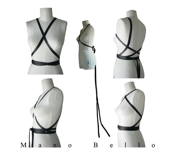 Свадьба - Black Leather Body Harness or Bow Belt with Wedding Dress Train, Wrapping Body Harness, Extra Long Wedding Sash, Leather Infinity Scarf