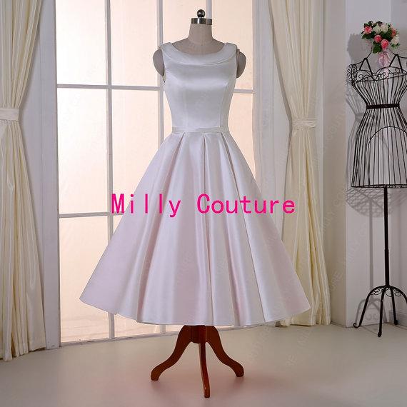 Свадьба - Round neck tea length wedding dress/ rockabilly wedding dress, retro 1950's wedding dress,vintage wedding gown, modest wedding dress