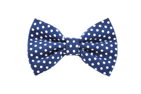 Свадьба - Navy Swiss Dot Pet Bow Tie - Detachable Navy Blue and White Polkadot Wedding Bow Tie for Cats and Dogs