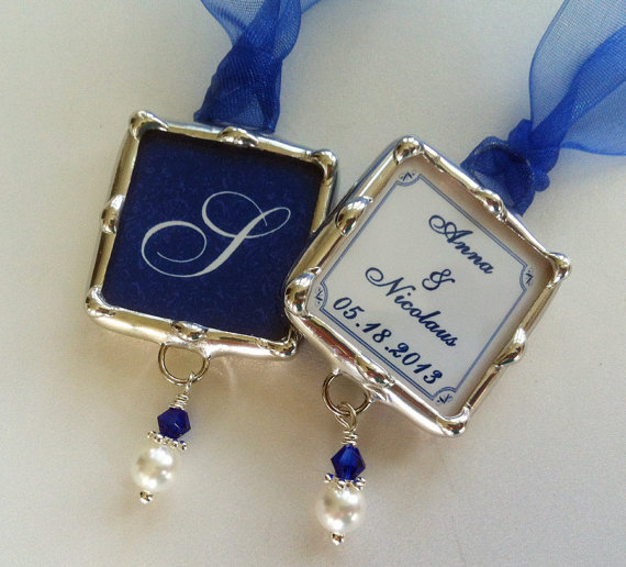 Mariage - Bridal Party Wedding Bouquet Charm Soldered Glass Monogram Pendant Personalized