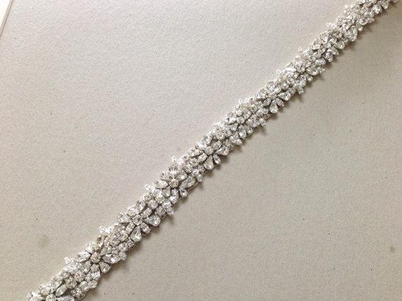 Свадьба - Wedding Crystal Sash -  Melina 27 inches  (Made to Order)