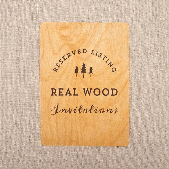 Hochzeit - RESERVED for Luke - Real Wood Wedding Invitations