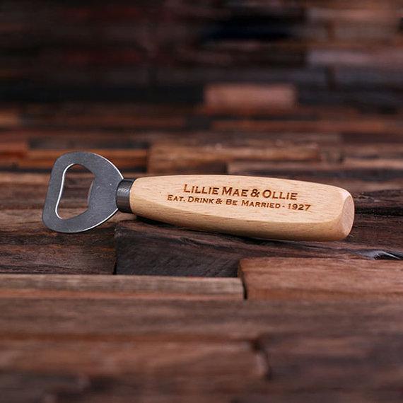 personalized wood beer bottle opener engraved and monogrammed nifty groomsmen gift 024237. Black Bedroom Furniture Sets. Home Design Ideas