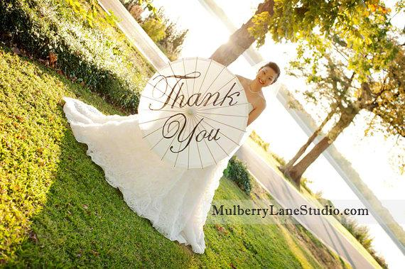 Mariage - Custom Wedding Parasol, Thank You, Mr. & Mrs.