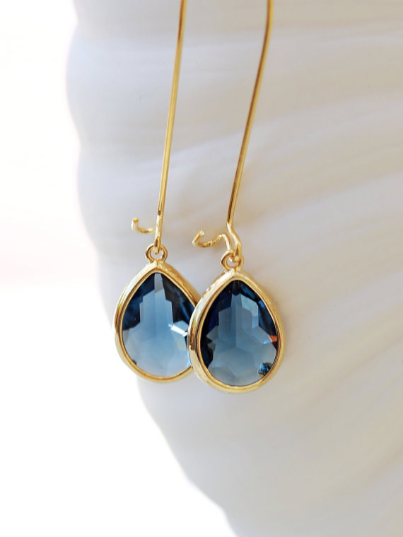 Mariage - Blue sapphire Earrings,Jewelry, Gold Earrings,Diamond Earrings,Gold Earrings,Wedding,Bridal, Bridesmaid Gift