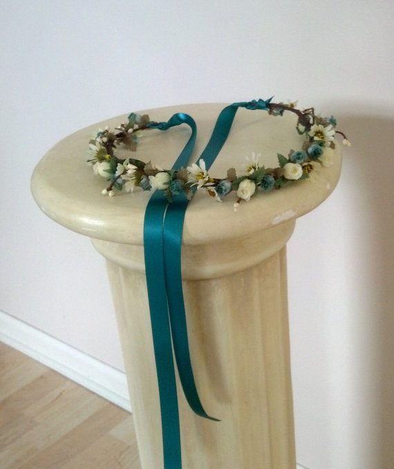 Свадьба - Teal Woodland wedding accessories bridal floral crown brides maids headpiece by Michele at AmoreBride original hair wreath flower girl halo
