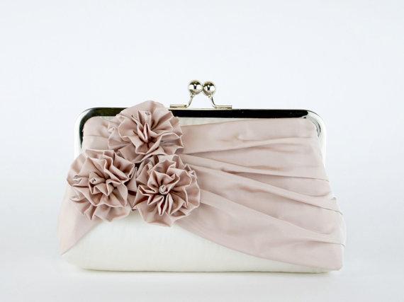 Mariage - Bridal clutch, Roses Silk Clutch in Blush and Ivory, wedding clutch, wedding bag, Luxury Bridesmaid Gift