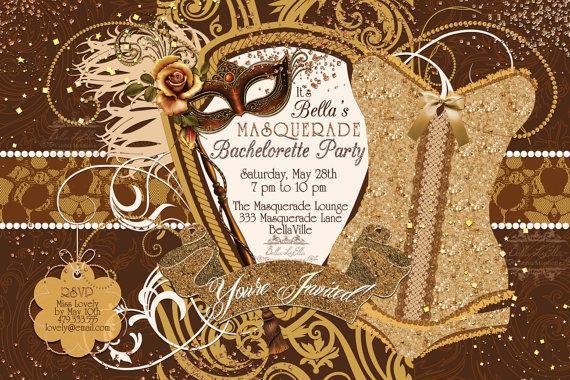 زفاف - Masquerade Bachelorette Party Invitation, Bachelorette Party, Masquerade Invitations
