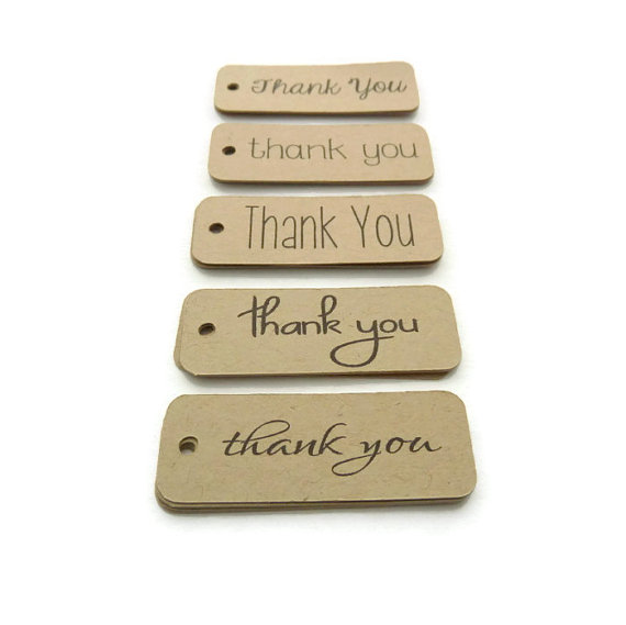 Wedding - Thank You Tags - 100 Count - Hang Tags - 2 x 0.75 inches - Kraft Tags - Die Cut Tags - Holiday Tags - Wedding Favor Tags - Jewelry Tags