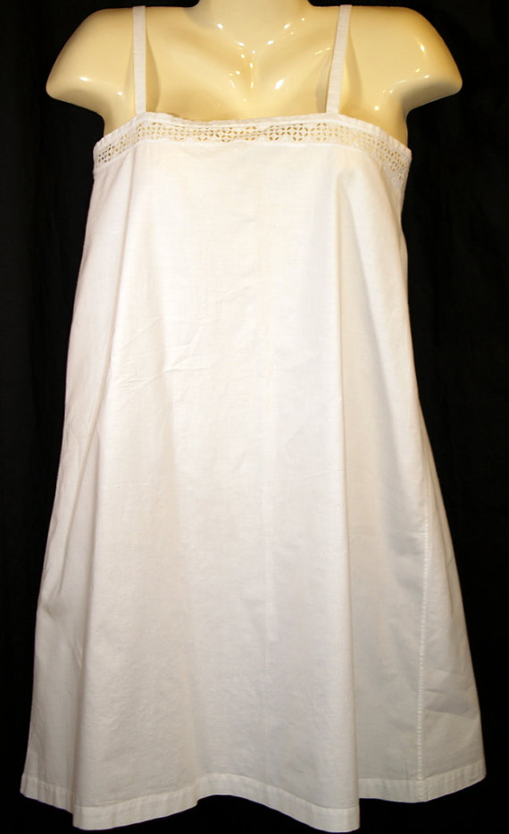 Wedding - Antique White Cotton Crocheted Summer Nightgown