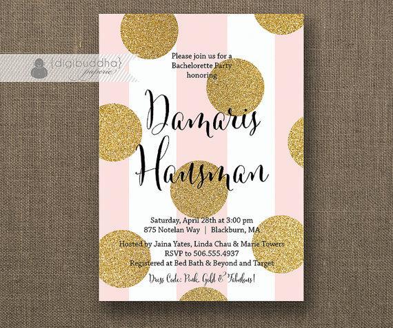 زفاف - Blush Pink & Gold Dot Bachelorette Party Invitation Glitter Dots Black Modern Bridal FREE PRIORITY SHIPPING or DiY Printable - Damaris
