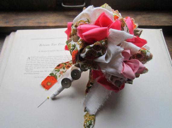 Mariage - Handmade Vintage Fabric Flower Bouquet * Bridesmaid Bouquet * Wedding Bouquet