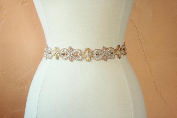زفاف - Romantic Gold and Blush Wedding Sash