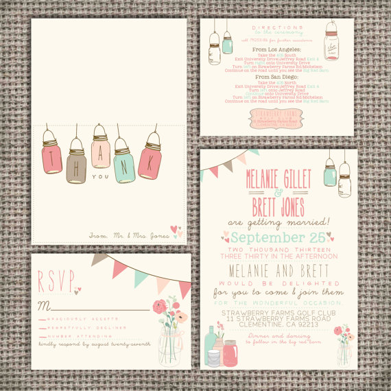 زفاف - Wedding Invitation Suite Set DEPOSIT - Printable, Custom, DIY - Vintage, RUSTIC, Pretty, Jars, Barn Wedding, Spring (Wedding Design #10)