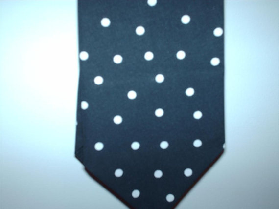Hochzeit - POLKA DOT NECKTIE or Hanky Square Black or navy and white All sizes Men Necktie toddler boys big tall wedding party bridal groom groomsmen