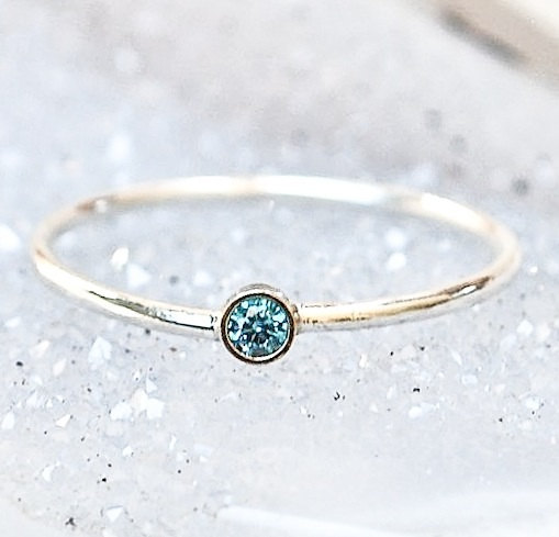 14k Gold Blue Diamond Stacking Ring Stackable Wedding Ring