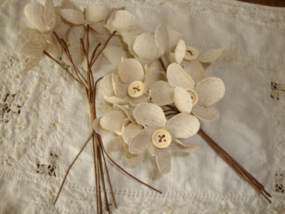 Hochzeit - Fabric flower bouquet ivory flower picks button centers rustic chic DIY wedding supplies decor party favors Cottage Chic home decor floral