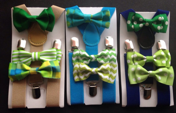 Wedding - Khaki and Green Bow tie and Suspender Set Newborn Baby to Adult Sizes Baby bow tie Suspenders Boys Bow ties Toddler Necktie Mens Fathers day