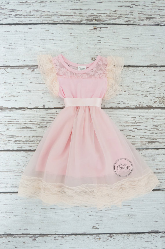 Mariage - Pink lace flower girl dress- Pink flower girl dress- girls birthday dress- pink baby girl dress- Girls Easter dress- lace baby dress- Pink