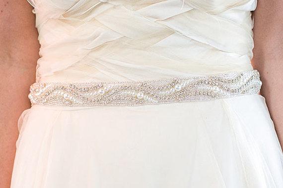 Свадьба - Pearl and Diamond Wedding sash, Bridal Sash, Rhinestone belt, Diamond wedding belt