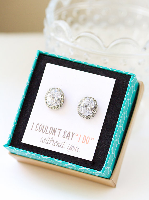 Hochzeit - Personalized Bridesmaids Gift, Crystal Stud Earrings, Bridesmaids Earrings, Bridesmaids Studs, Bridesmaids Gifts, Bridal Party Gift E268