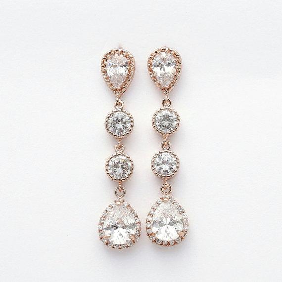 Mariage - Rose Gold Earrings Wedding Jewelry Cubic Zirconia Teardrop Earrings Rose Gold Bridal Jewelry