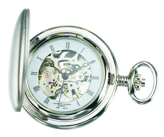 Mariage - Charles Hubert Paris Engravable Brushed Finish Hunter Case Mechanical Pocket Watch Personalized Engraved Monogram Groomsmen Best Man Gift