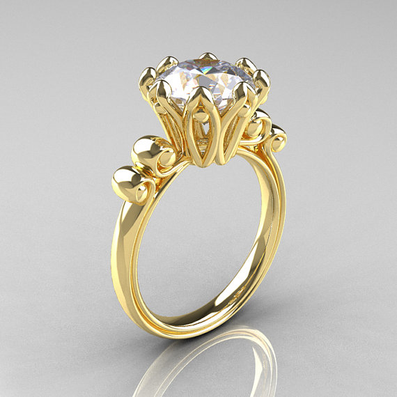 Свадьба - Modern Antique 14K Yellow Gold 3.0 Carat White Sapphire Solitaire Engagement Ring AR135-14KYGWS