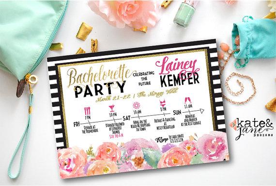 Hochzeit - Bachelorette Weekend Invitation; Bachelorette Party Itinerary Invitation; Black White Gold Watercolor Floral; Chic -- Digital Printable