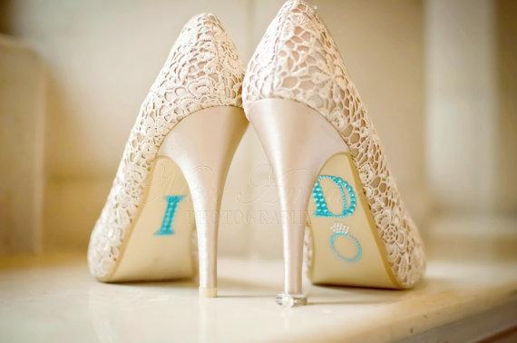 "Свадьба - BLUE ""I Do"" Wedding Shoe Rhinestone Applique"