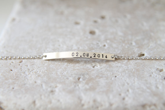 Hochzeit - 36x3mm-Nameplate Bracelet, Sterling Silver Bracelet, Personalized Bracelet ,Bridesmaid gift,Mother's gift, WITH EXTENDER CHAIN