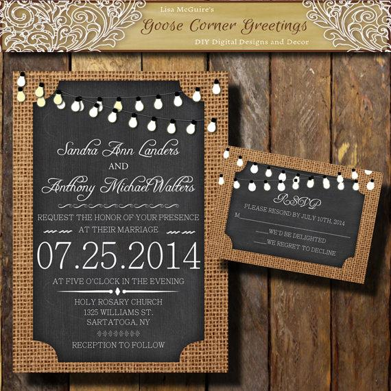 زفاف - BURLAP Wedding Invitation// String Lights//Chalkboard//Rustic wedding invitations//Shower//Birthday//Baby Shower