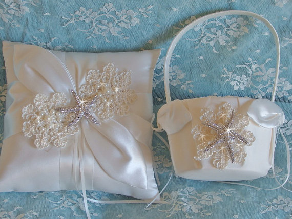 Ivory Satin And Lace Beach Wedding Flower Girl Basket And Pillow Set