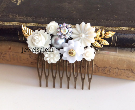 Свадьба - Victorian Wedding Comb Grecian Gold Bridal Hair Accessories White Floral Leaves Rhinestone Pearl Downton Abbey Inspired Chintz Elegant JW
