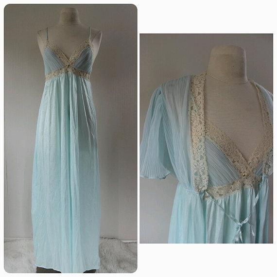 زفاف - Womens, Vintage, Baby Blue Lingerie, Lingerie set