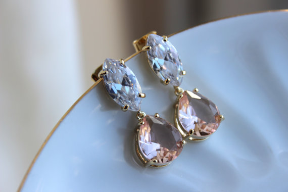 Mariage - Gold Champagne Blush Crystal Teardrop Bridal Jewelry - Clear Bridal Earrings - Marquise Bridal Accessories Wedding Jewelry Bridesmaid Gift