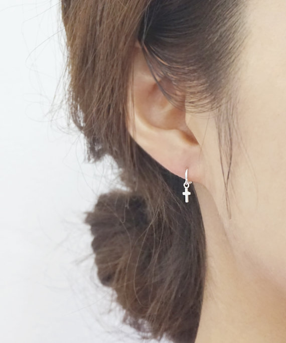 Silver 3mm Cross Hoop Earrings Sterling Pee Dangle Cute Earring Dainty Jewelry Bridesmaid Wedding Gift For Her