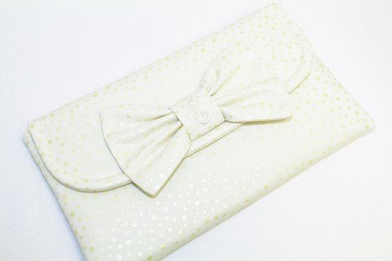 Wedding - Personalized Ivory Bow Clutch/Wristlet - Wedding Clutch - Bridesmaid Clutch