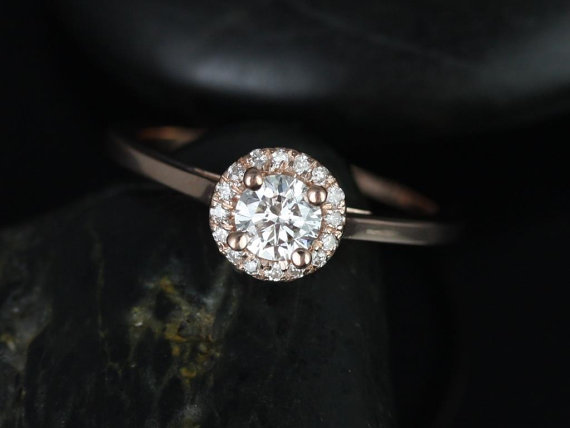 Mariage - Amerie 1/3cts 14kt Rose Gold Round Diamond Halo Engagement Ring (Other metals and stone options available)