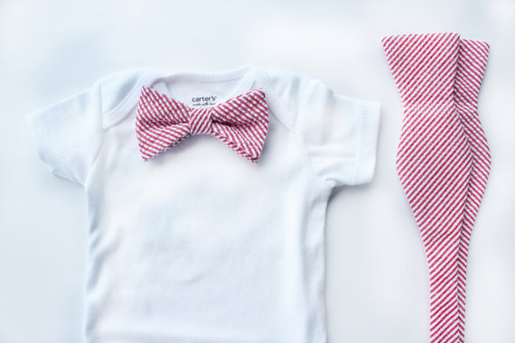 Mariage - Father Son Bow Tie Sets - Pink/Red Seersucker