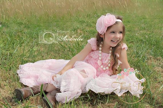 Hochzeit - 4 Pcs flower girl dress, pink  lace flower girl dress, rustic flower girl dress,Birthday dress, Baby Headband, Chunky Necklace, Flower sash.