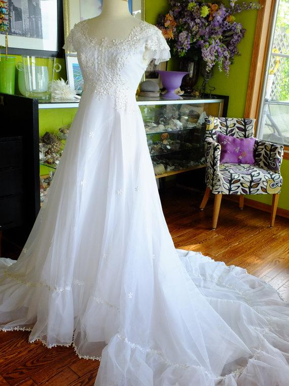 Wedding dress restyled 1970s vintage lace pearl delicate for 1970s vintage wedding dresses