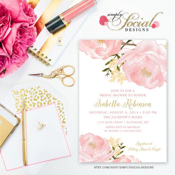 زفاف - Romantic Garden Peonie Flowers Blush Pink Bridal Shower Invitation Printable